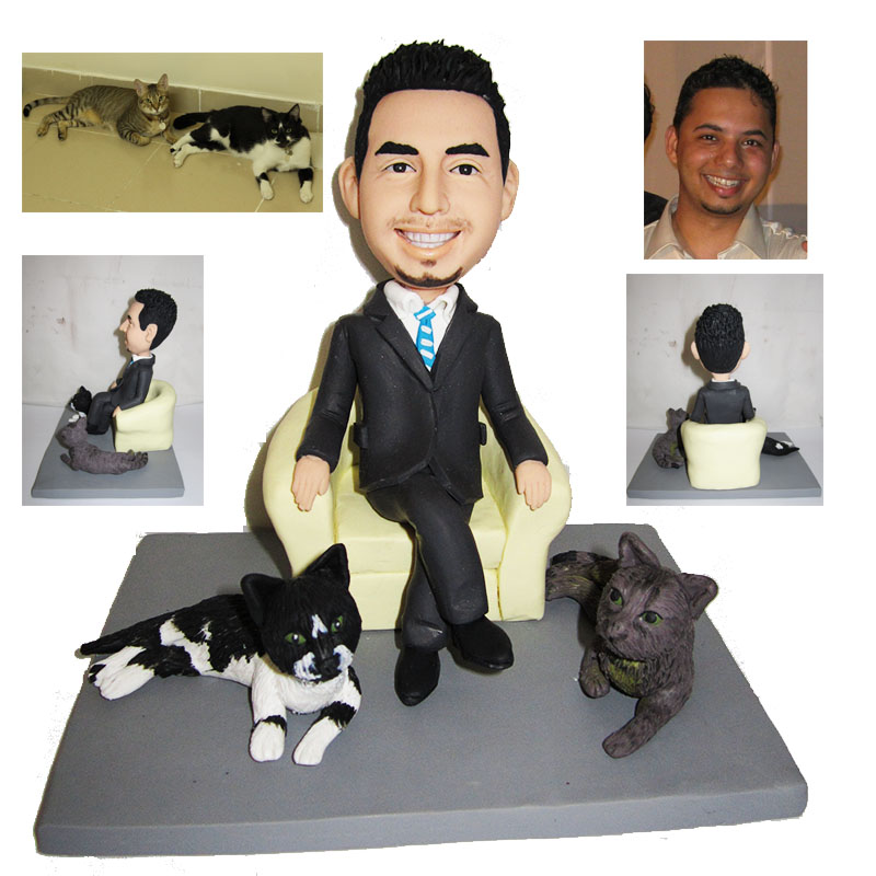 Business man with pets custom action figure