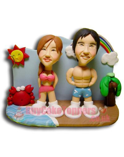 couple on the beach figurine template