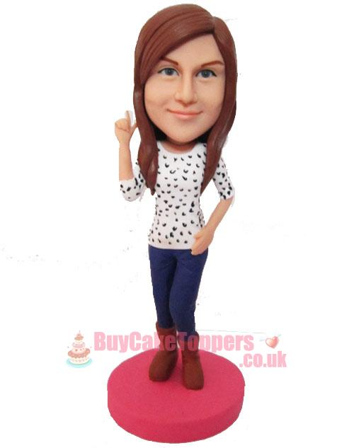 pretty lady casual wear figurine template