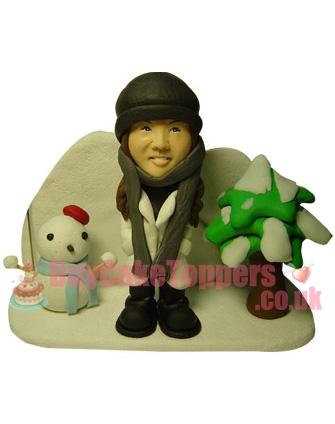 cute lady winter theme custom figurine