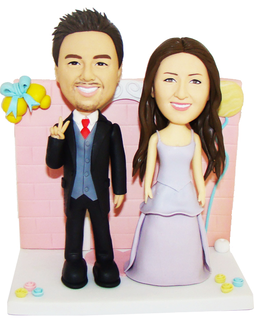 New happy couple wedding cake topper