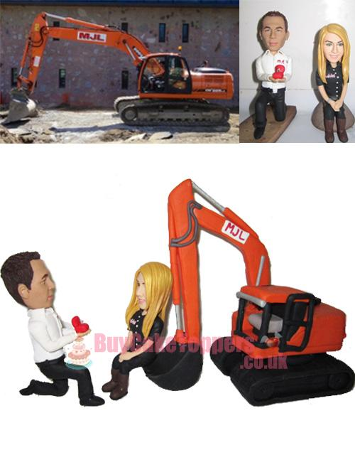 propose style wedding topper with digger