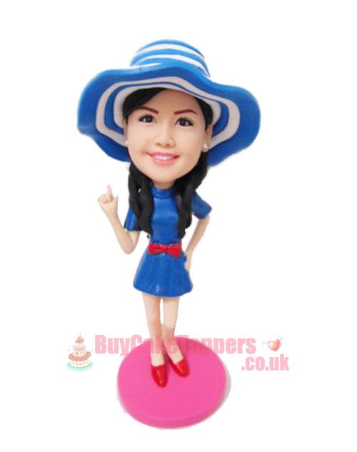 beautiful girl wears straw hat custom figurine