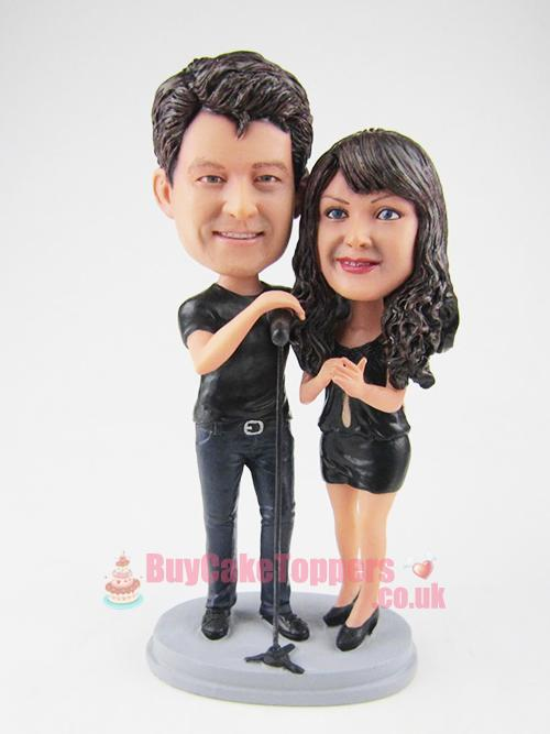 Karaoke couple wedding cake topper