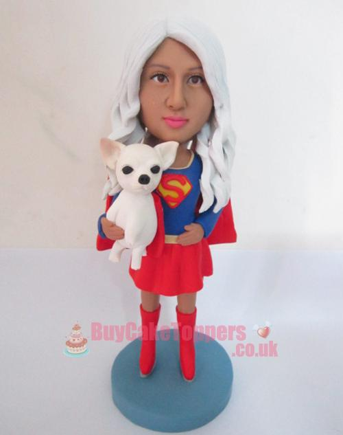 super woman with her pet