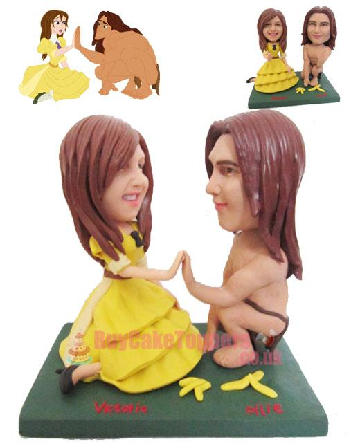 Tarzan and Jane wedding cake topper