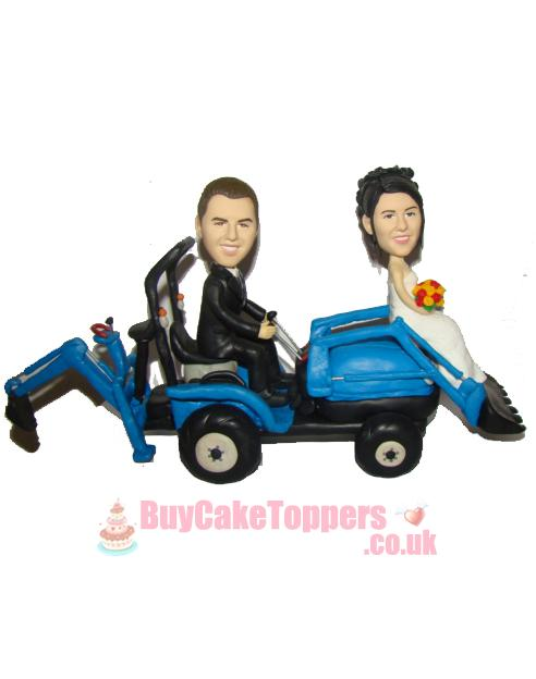 bulldozer driver wedding cake topper