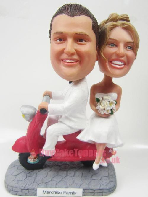 wedding cake topper couple ride scooter