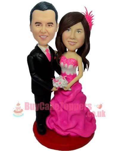 pink dress wedding cake topper